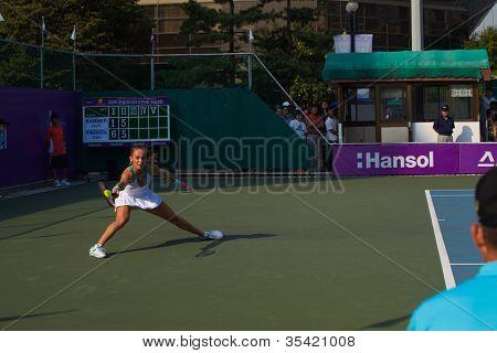 Magdalena Rybarikova Lunging Ball Forehand Stab