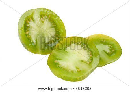 Sliced Green Zebra Tomato