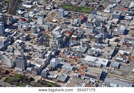Vista aérea de demoliciones de terremoto de Christchurch