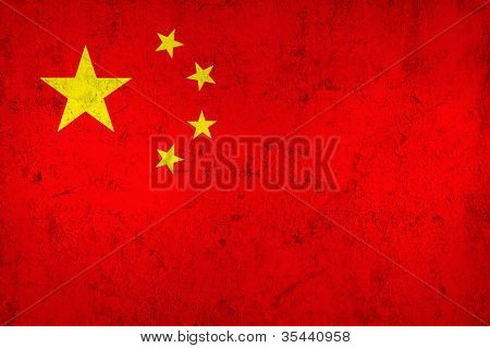 Grunge Dirty And Weathered Chinese Flag