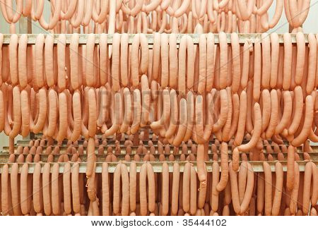 Lots Of Frankfurter Sausage Hanging