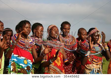 Samburu Women dancing in Kenya, Africa