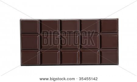 Black chocolate bar on white background.