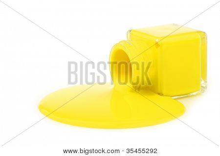 glass jar spilling yellow paint on a white background