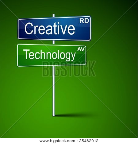 Vector direction road sign with creative technology words.