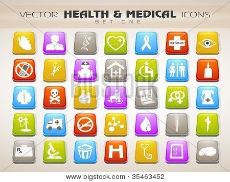 Medical icons set isolated on grey background. EPS 10