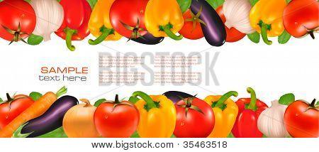Frame made of vegetables. Vector illustration.