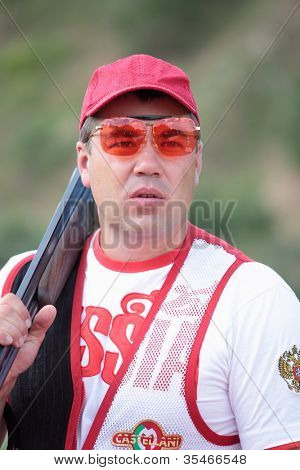 MOSCOW, RUSSIA - JULY 9: Member of Russian Olympic team Alexei Alipov during open training session before the Olympics in the Lisya Nora sports complex in Moscow Region, Russia at July 9, 2012