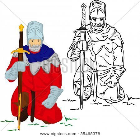 vector - Knight with scimitar isolated on background