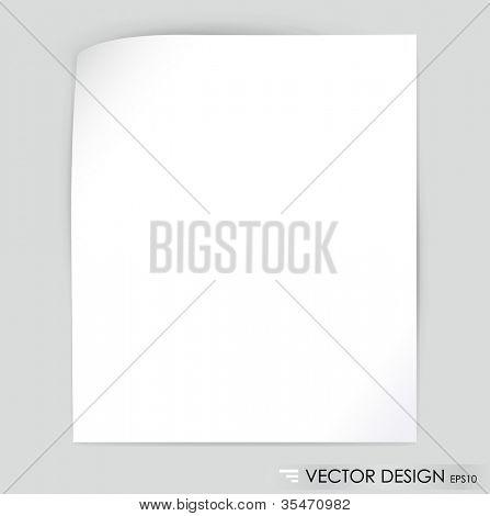 Papel branco nota, pronto para sua mensagem. Ilustração vetorial.