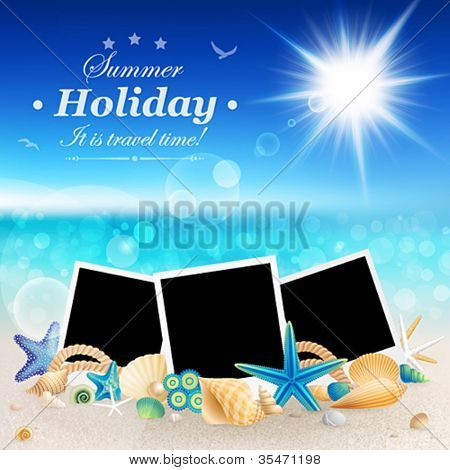 Pictures and shells on Beautiful seaside background. Vector illustration.