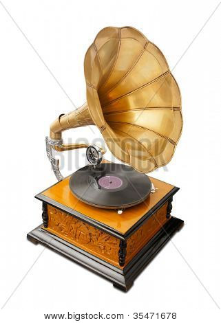vintage gramophone isolated on white with clipping path