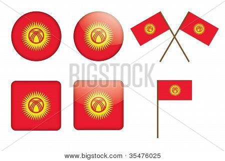 Badges With Flag Of Kyrgyzstan