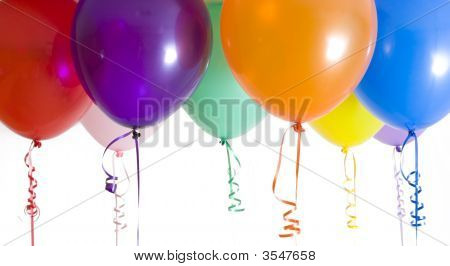 Close Up Variety Of Balloons Brightly Lit
