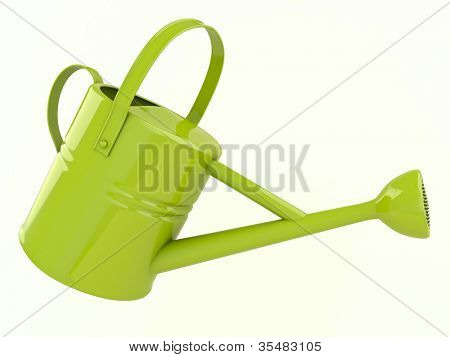 Green watering can with a light background