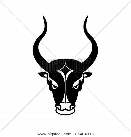 Black And White Bull Head Icon