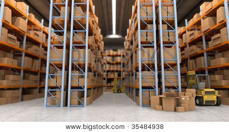 3D rendering of a distribution warehouse with shelves, racks, boxes, forklift,  ideal for backgrounds