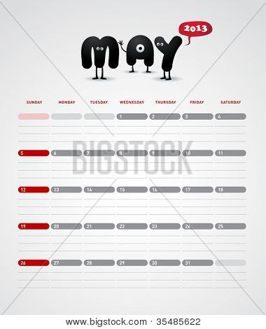Funny year 2013 vector calendar May