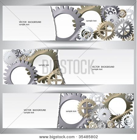 Gears web bannes.Eps10 .Image contain transparency and various blending modes