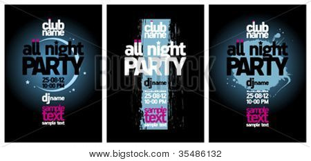 All Night Party design templates set with place for text.
