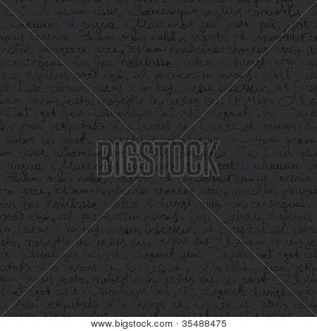 Seamless abstract text pattern on dark gray background. Raster version.