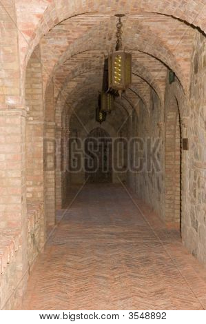 Castle In Medieval Tuscan Style Interior Corridor