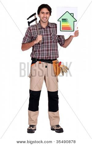 Man holding caliper and energy rating poster