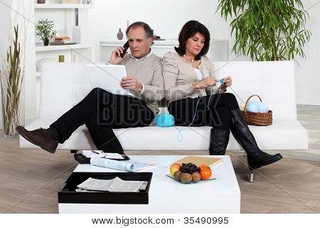 Married couple enjoying a relaxing evening