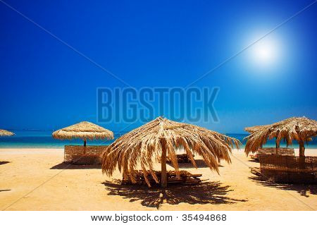 Exotic Beach And Gulf Against Blue Sky