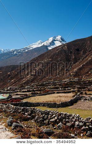 Himalaya Landscape: Snowed Peaks And Sherpa Village