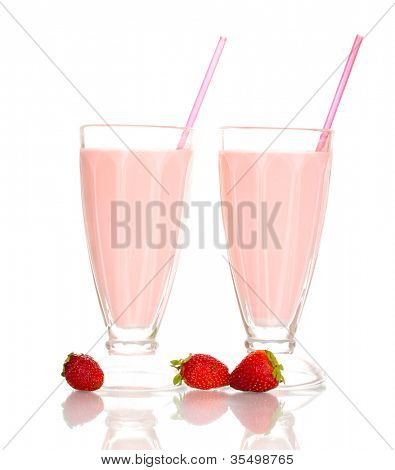 Strawberry milk shakes isolated on white