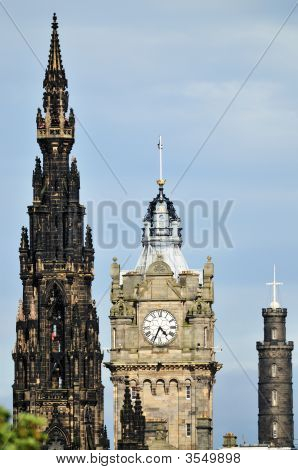 Balmoral Hotel flanked by Scott  Monument and Nelson\'s Monument