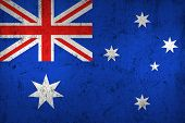 stock photo of frazzled  - Grunge Dirty and Weathered Australian Flag Old Metal Textured - JPG