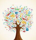 Постер, плакат: Абстрактные музыкальные дерево сделанные с инструментами