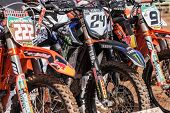 SEMIGORJE, RUSSIA - JULY 22: Bikes at Grand Prix of Russia of FIM Motocross World Championship MX1 a