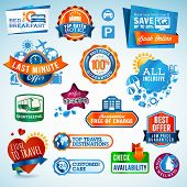 stock photo of all-inclusive  - Set of vector travel labels and stickers - JPG