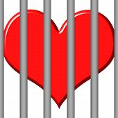 picture of loveless  - 3d jailed heart that is isolated in white - JPG