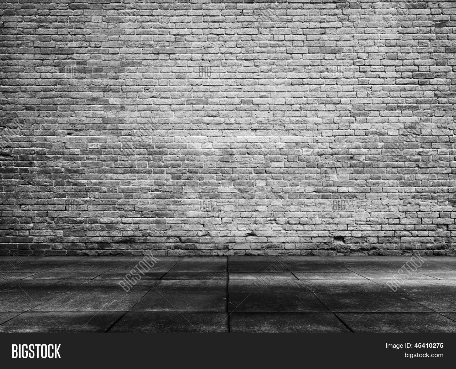 Old Grunge Interior With Brick Wall Black And White