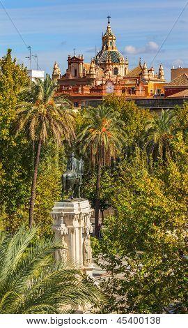 Plaza Nueva Ferdinand Statue Church El Salvador Seville Spain