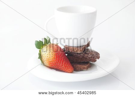 White Cup With Saucer, Chocolate And Strawberry