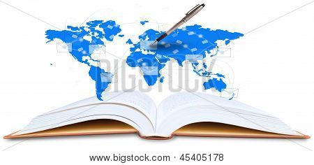 open book and world map with pen writing