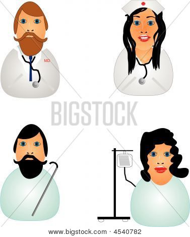 Nurse, Doctor And  Patient Icons