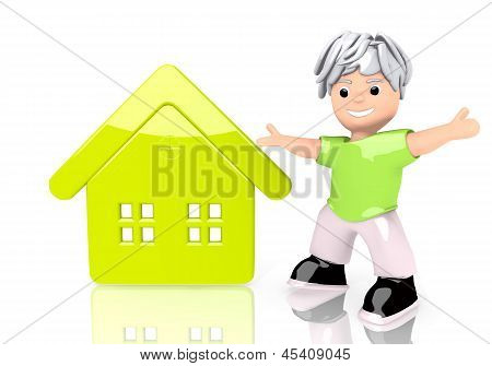 Illustration of a happy house icon  with cute 3d character
