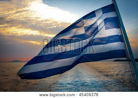 Greek Flag On Boat In Wind