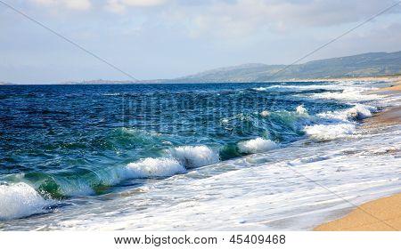 Beautiful Beach With Nice Waves Sardinia Italy