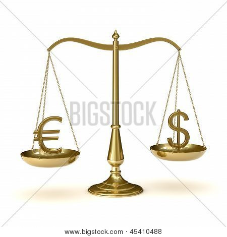 Scales with euro and dollar