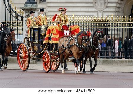 LONDON - UK, MAY 08: Prince Charles and Camilla, Duchess of Cornwall leaving Buckingham Palace and going to the State Opening of Parliament on May 8, 2013 in London.