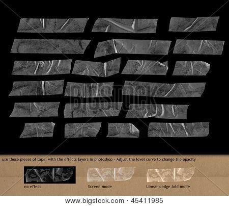 transparent plastic scotch tape on black background