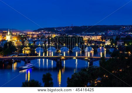 View Over The Vltava River And Bridges In Prague