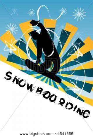 Snowboarding Vector Illustration, Orange And Blue Beams